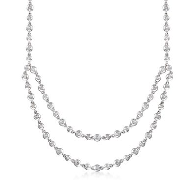 C. 2000 Vintage .80 ct. t.w. Diamond Layered Bead Necklace in 14kt White Gold, , default