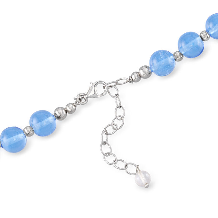 Italian Murano Glass Bead Necklace in Sterling Silver