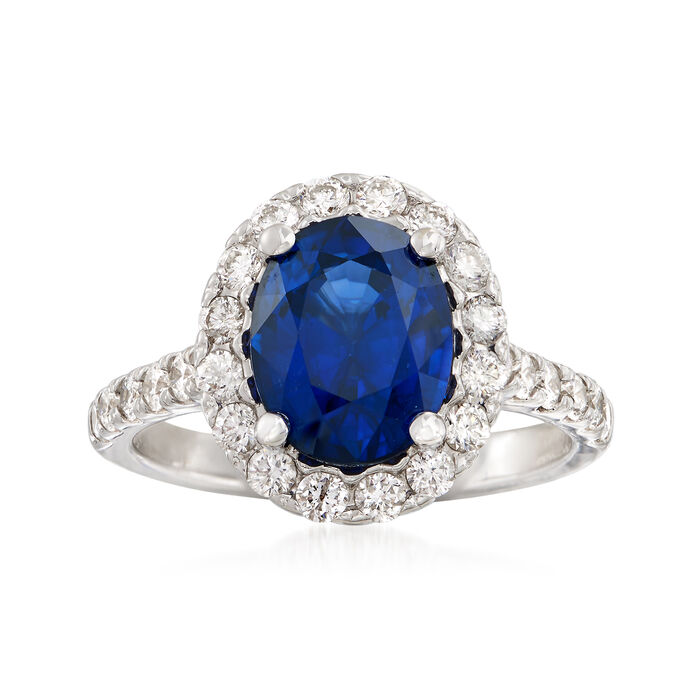 3.40 Carat Oval Sapphire and .85 ct. t.w. Diamond Ring in 14kt White Gold. Size 6.5, , default