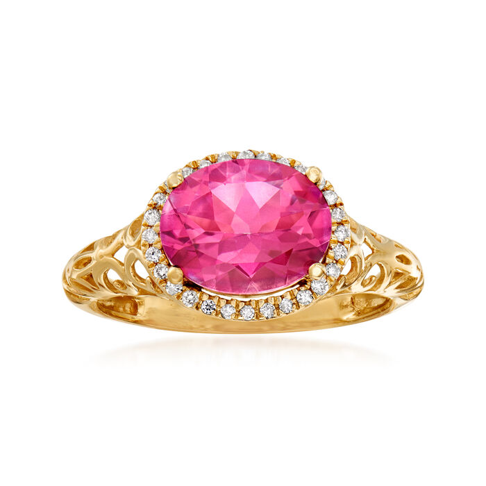 2.60 Carat Pink Topaz and .11 ct. t.w. Diamond Ring in 14kt Yellow Gold