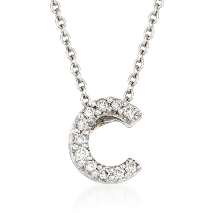 "Roberto Coin ""Love Letter"" Diamond Accent Initial ""C"" Necklace in 18kt White Gold. 16"""