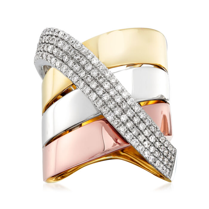 1.00 ct. t.w. Diamond Sash Ring in 14kt Tri-Colored Gold. Size 6, , default