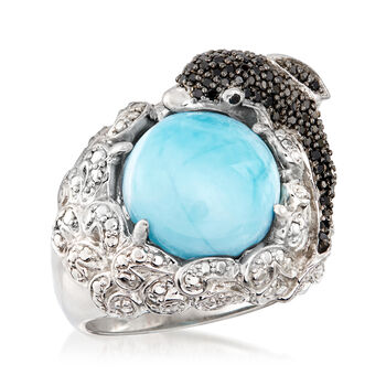 Larimar, .60 ct. t.w. White Topaz and .50 ct. t.w. Black Spinel Dolphin Ring in Sterling Silver