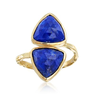 Lapis Double-Triangle Ring in 18kt Yellow Gold Over Sterling Silver, , default