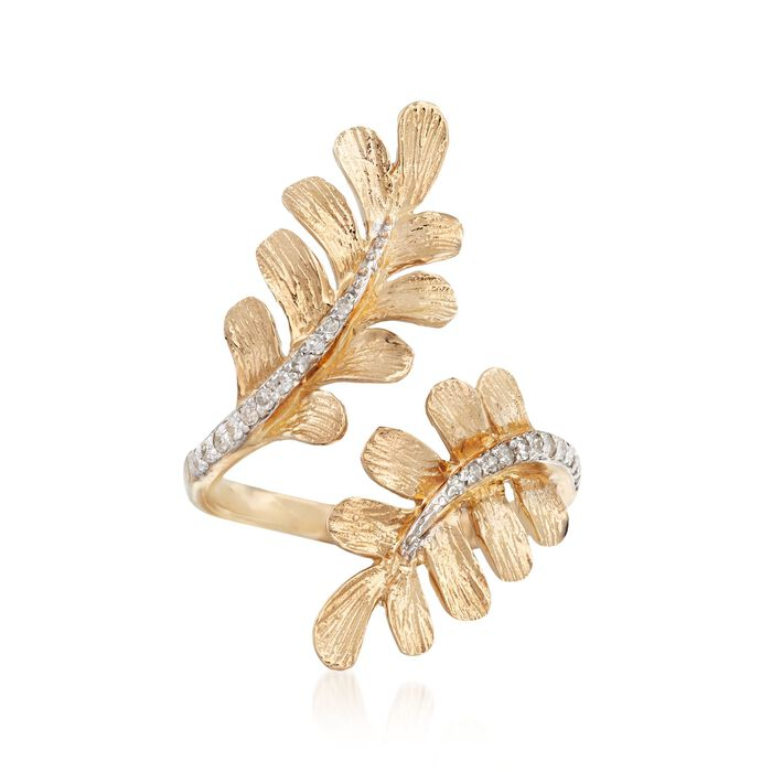 .13 ct. t.w. Diamond Bypass Leaf Ring in 14kt Yellow Gold, , default