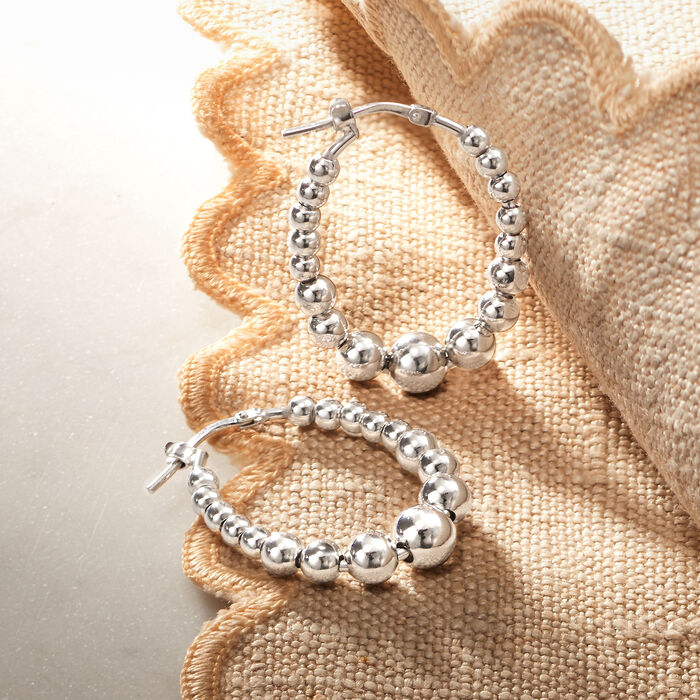 Italian Sterling Silver Beaded Oval Hoop Earrings