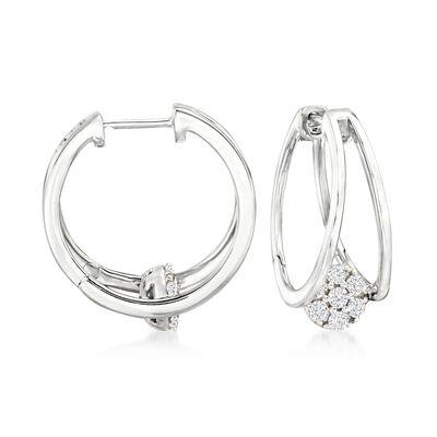 .50 ct. t.w. Diamond Cluster Double-Hoop Earrings in Sterling Silver