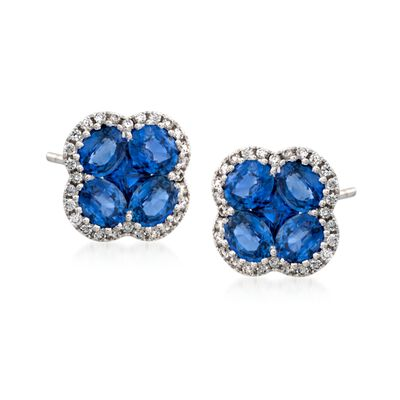 Gregg Ruth 2.60 ct. t.w. Sapphire and .28 ct. t.w. Diamond Floral Stud Earrings in 18kt White Gold, , default