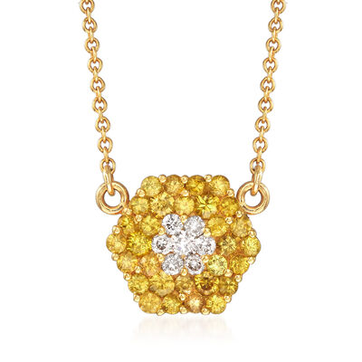 C. 1990 Vintage Tiffany Jewelry .75 ct. t.w. Yellow Sapphire and .15 ct. t.w. Diamond Necklace in 18kt Yellow Gold, , default