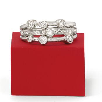 .50 ct. t.w. Diamond Triple-Row Bezel Ring in 14kt White Gold