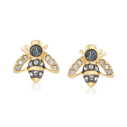 "Swarovski Crystal ""Magnetic"" Bee Stud Earrings in Gold-Plated Metal, , default"