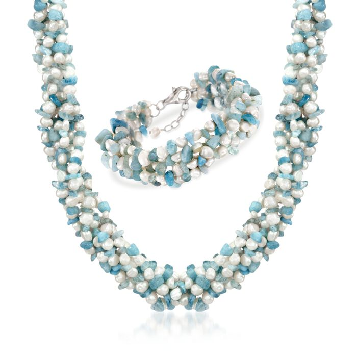 "Aquamarine Bead and 5-6mm Cultured Pearl Torsade Necklace with Free Bracelet. 18"", , default"