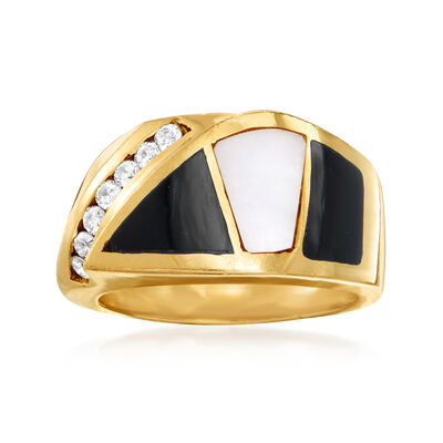 C. 1980 Vintage Black Onyx, Mother-Of-Pearl and .25 ct. t.w. Diamond Section Ring in 14kt Yellow Gold, , default