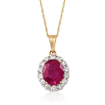 "2.00 Carat Ruby and .56 ct. t.w. Diamond Pendant Necklace in 18kt Yellow Gold. 18"", , default"