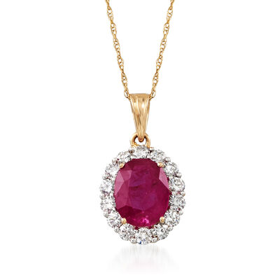 2.00 Carat Ruby and .56 ct. t.w. Diamond Pendant Necklace in 18kt Yellow Gold, , default