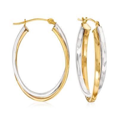 14kt Two-Tone Gold Double-Oval Hoop Earrings