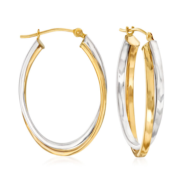 14kt Two-Tone Gold Double-Oval Hoop Earrings. 1 1/8""