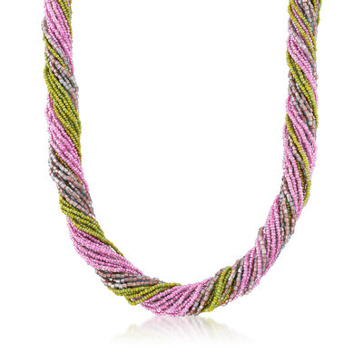 Italian Multicolored Murano Glass Bead Torsade Necklace in Sterling Silver