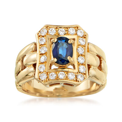 C. 1980 Vintage .70 Carat Sapphire and .35 ct. t.w. CZ Ring in 18kt Yellow Gold