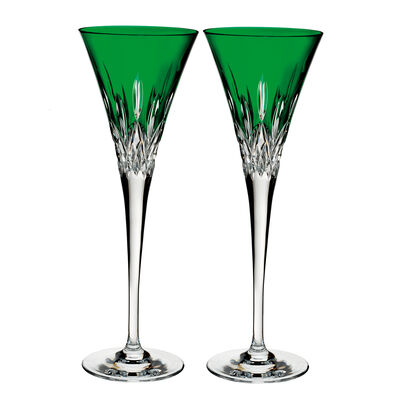 "Waterford Crystal ""Pops"" Set of 2 Lismore Emerald Flute Glasses"