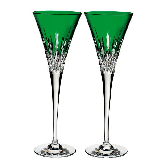 """Waterford Crystal """"Pops"""" Set of 2 Lismore Emerald Flute Glasses , , default"""
