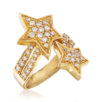 C. 1980 Vintage .70 ct. t.w. Diamond Bypass Star Ring in 18kt Yellow Gold. Size 6.5, , default