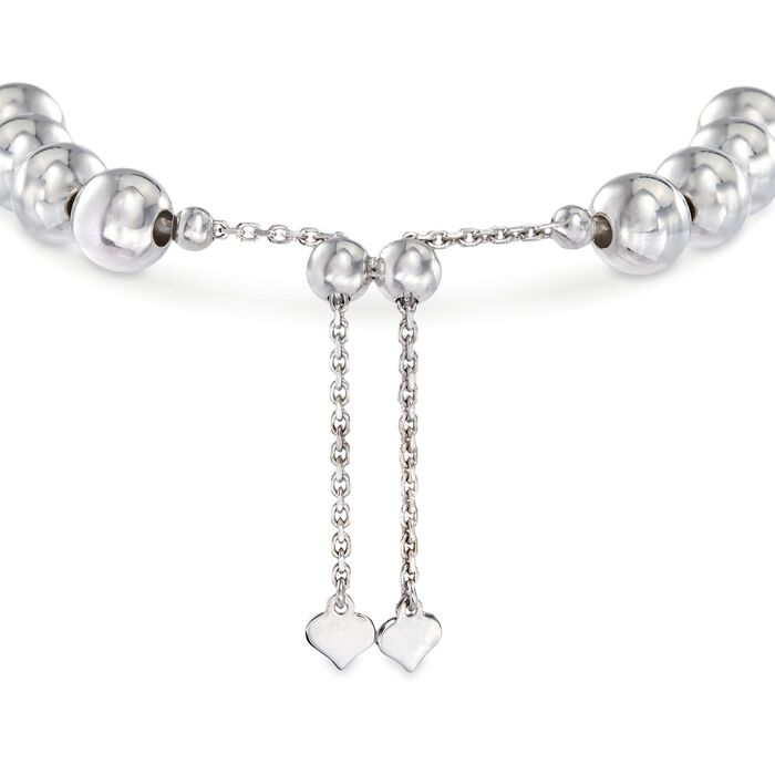 Sterling Silver Personalized Disc and Bead Bolo Bracelet