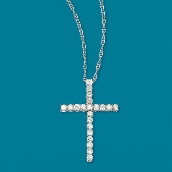 1.00 ct. t.w. Diamond Cross Pendant Necklace in 14kt White Gold, , default