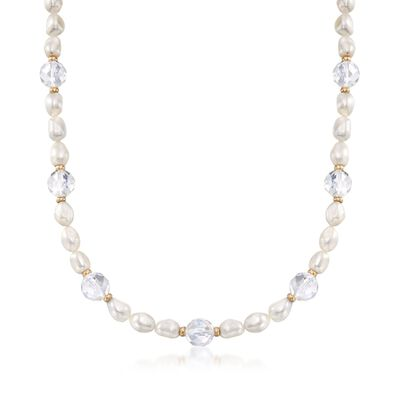 8-9mm Cultured Pearl and Rock Crystal Station Necklace with 14kt Yellow Gold, , default