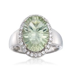 5.00 Carat Green Amethyst and .40 ct. t.w. White Zircon Ring in Sterling Silver, , default