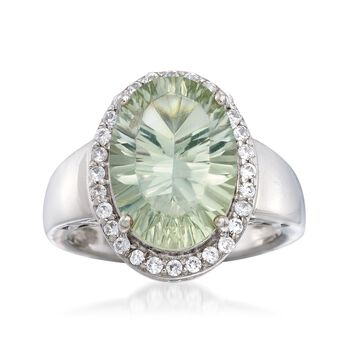5.00 Carat Green Prasiolite and .40 ct. t.w. White Zircon Ring in Sterling Silver, , default