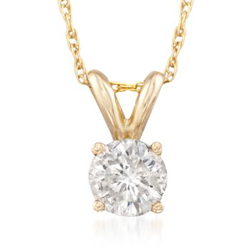".50 Carat Diamond Solitaire Necklace in 14kt Yellow Gold. 18"", , default"