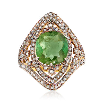 C. 1950 Vintage 3.15 Carat Green Tourmaline and .60 ct. t.w. Diamond Ring in Sterling Silver and 18kt Yellow Gold