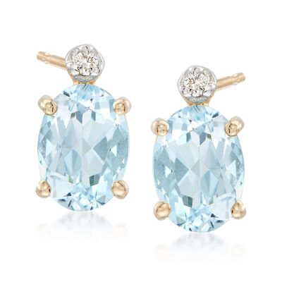 1.30 ct. t.w. Aquamarine Earrings with Diamond Accents in 14kt Yellow Gold, , default