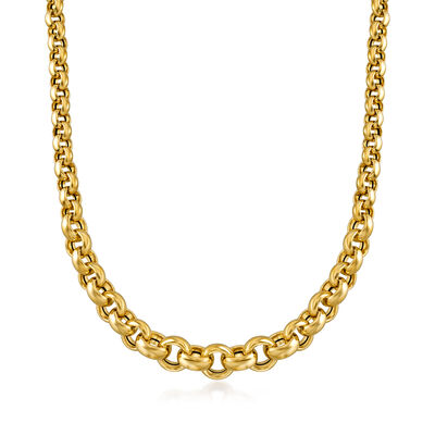 Italian 18kt Yellow Gold Rolo Chain Necklace, , default