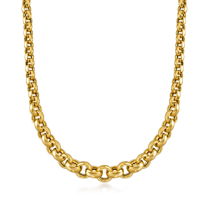 Italian 18kt Yellow Gold Rolo Chain Necklace