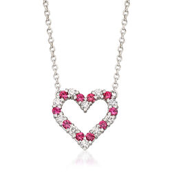 C. 1990 Vintage 1.00 ct. t.w. Pink Sapphire and .65 ct. t.w. Diamond Heart Necklace in 18kt White Gold , , default