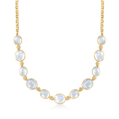 Mazza Moonstone and .15 ct. t.w. Diamond Rolo Necklace in 14kt Yellow Gold, , default