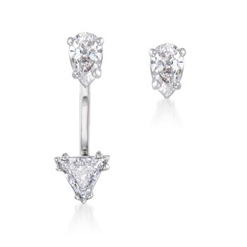 """Swarovski Crystal """"Attract"""" Crystal Jewelry Set: Earrings and Single Front-Back Jacket in Silvertone, , default"""