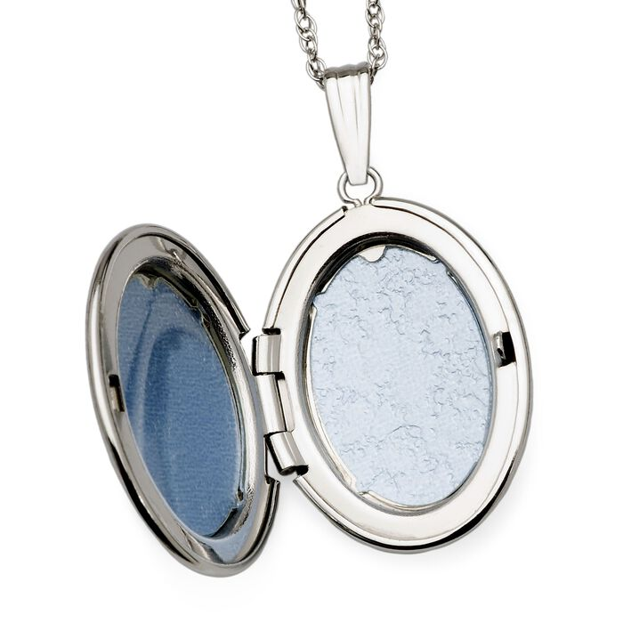 Diamond Accent Oval Locket Necklace in 14kt White Gold