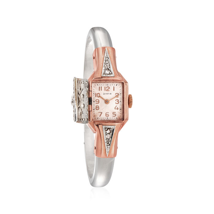 C.1960 Vintage Women's .76 ct. t.w. Diamond 15mm Manual Bangle Watch in Platinum and 14kt Rose Gold. Size 6.5, , default