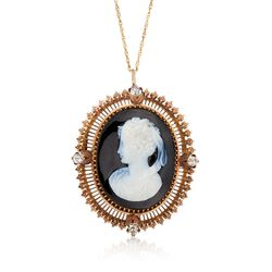 "C. 1930 Vintage Agate Cameo and 1.20 ct. t.w. Diamond Pin Pendant Necklace in 15kt Yellow Gold. 18"", , default"