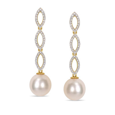 10-10.5mm Cultured Pearl and .48 ct. t.w. Diamond Drop Earrings in 14kt Yellow Gold