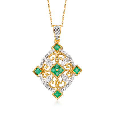 1.02 ct. t.w. Emerald and .39 ct. t.w. White Zircon Pendant Necklace in 18kt Gold Over Sterling