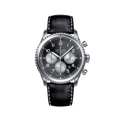 Breitling Navitimer 8 B01s Men's 43mm Auto Chronograph Stainless Steel Watch - Black Leather Strap