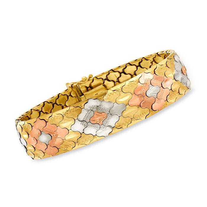 """C. 1980 Vintage 14kt Tri-Colored Gold Bracelet. 7"""""""