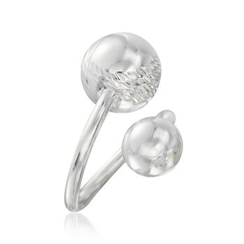 Sterling Silver Double Bead Bypass Ring, , default