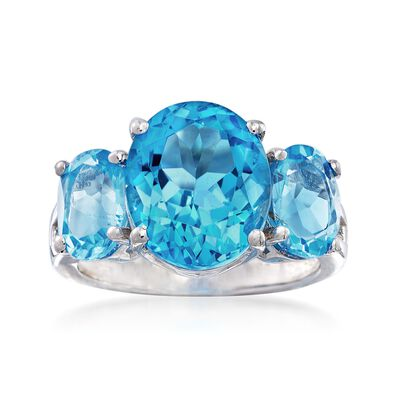 8.50 ct. t.w. Blue Topaz Three-Stone Ring in Sterling Silver, , default