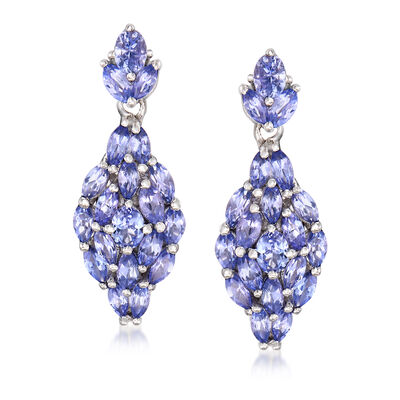 3.30 ct. t.w. Tanzanite Drop Earrings in Sterling Silver, , default