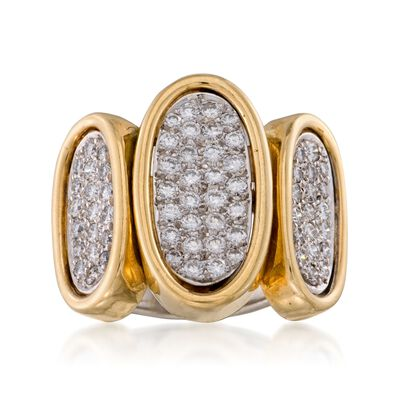 C.1990 Vintage 1.80 ct. t.w. Pave Diamond Ring in 14kt Two-Tone Gold, , default